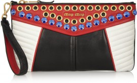 MIU MIU, Biker Swarovski crystal-embellished quilted leather clutch, $1,390